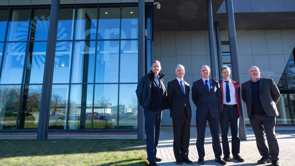 Pictured marking completion of work on CPI's National Healthcare Photonics Centre are Bob Preston, CPI Project Manager; Dr John Cocker, Business Unit Director - Printable Electronics at CPI; Dr Tom Harvey, Healthcare Photonics Lead at CPI; Ray Browning, Programme Manager at the North East LEP; and Joe Baron, Contracts Manager at Surgo Construction