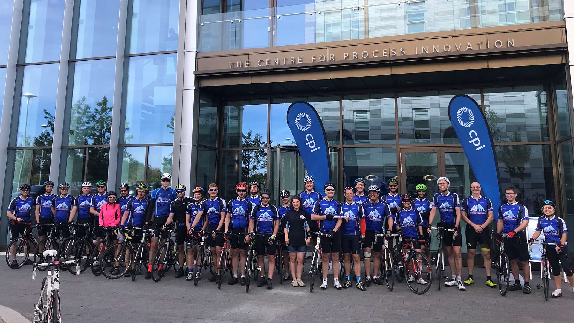 Cycle challenge team with cyclists representing all seven HVM Catapult Centres
