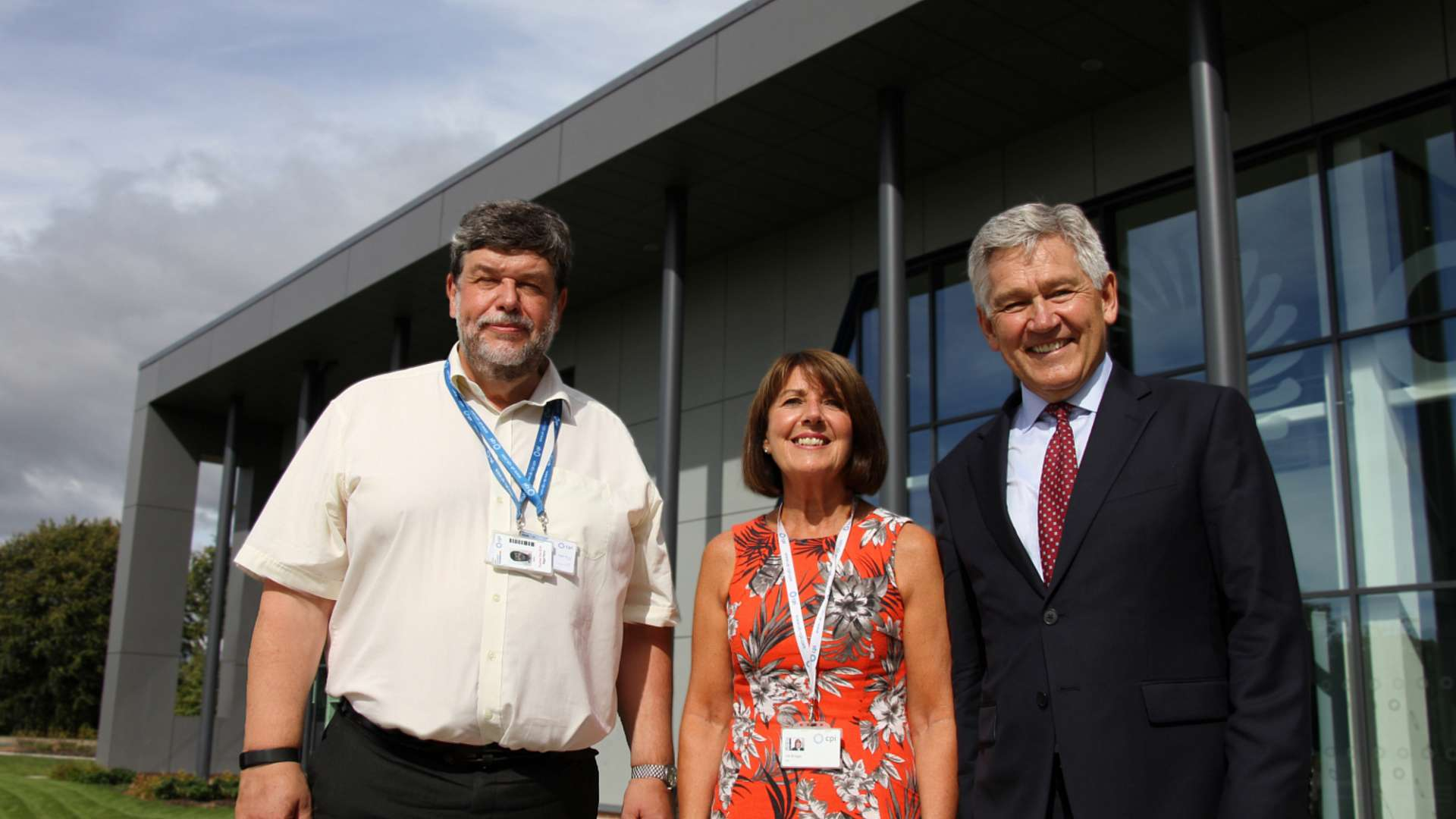 Bob Coxon, right, with CPI CEO Nigel Perry, and PA and Office Manager Val Briggs