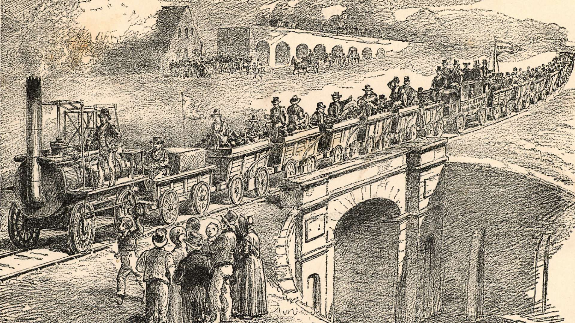Crowds gather for the opening of the Stockton and Darlington Railway in 1825