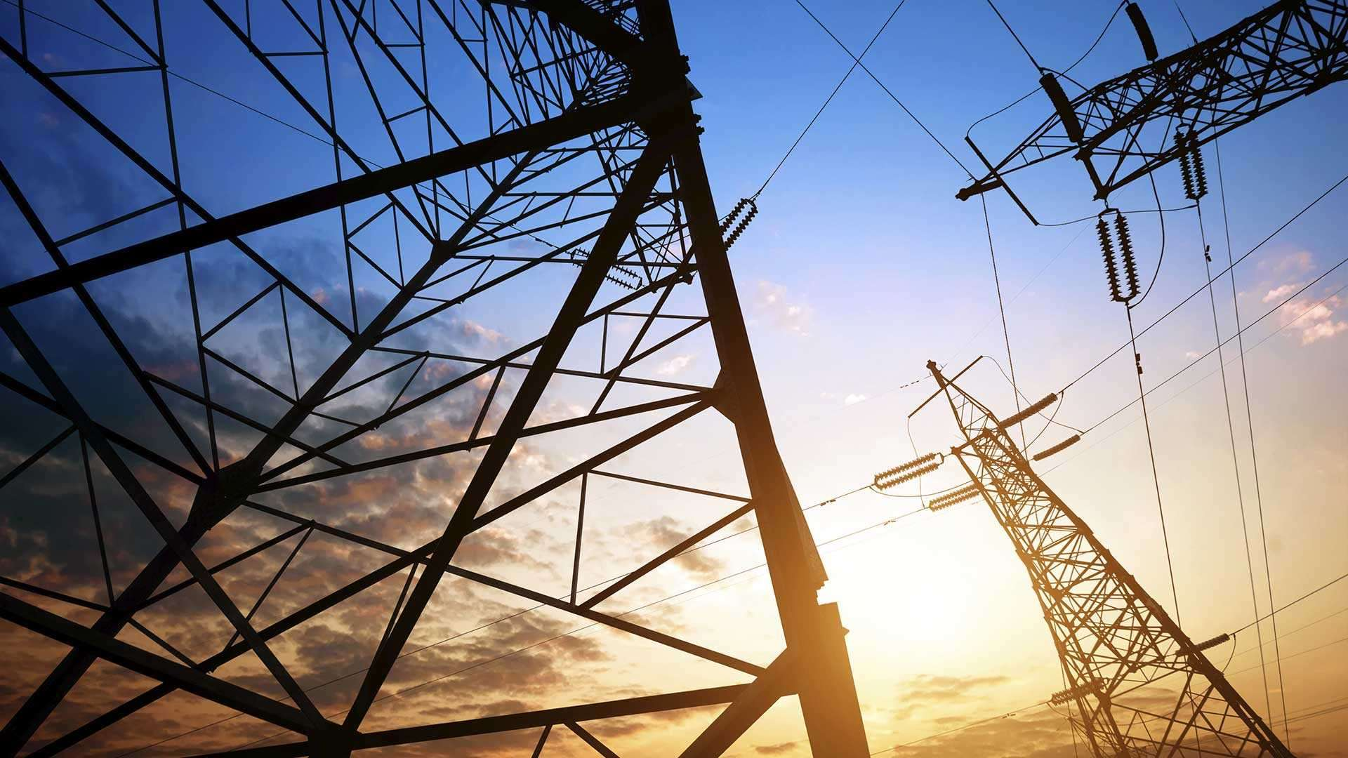 A photo of electric pylons