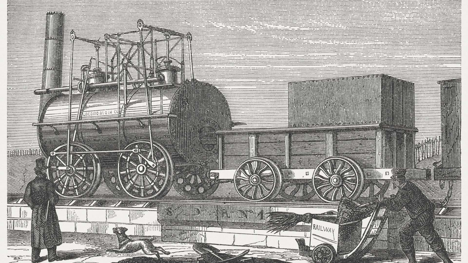 "An illustration of George Stephenson's ""Locomotion"" – the world's first steam train and railway in Darlington, County Durham"