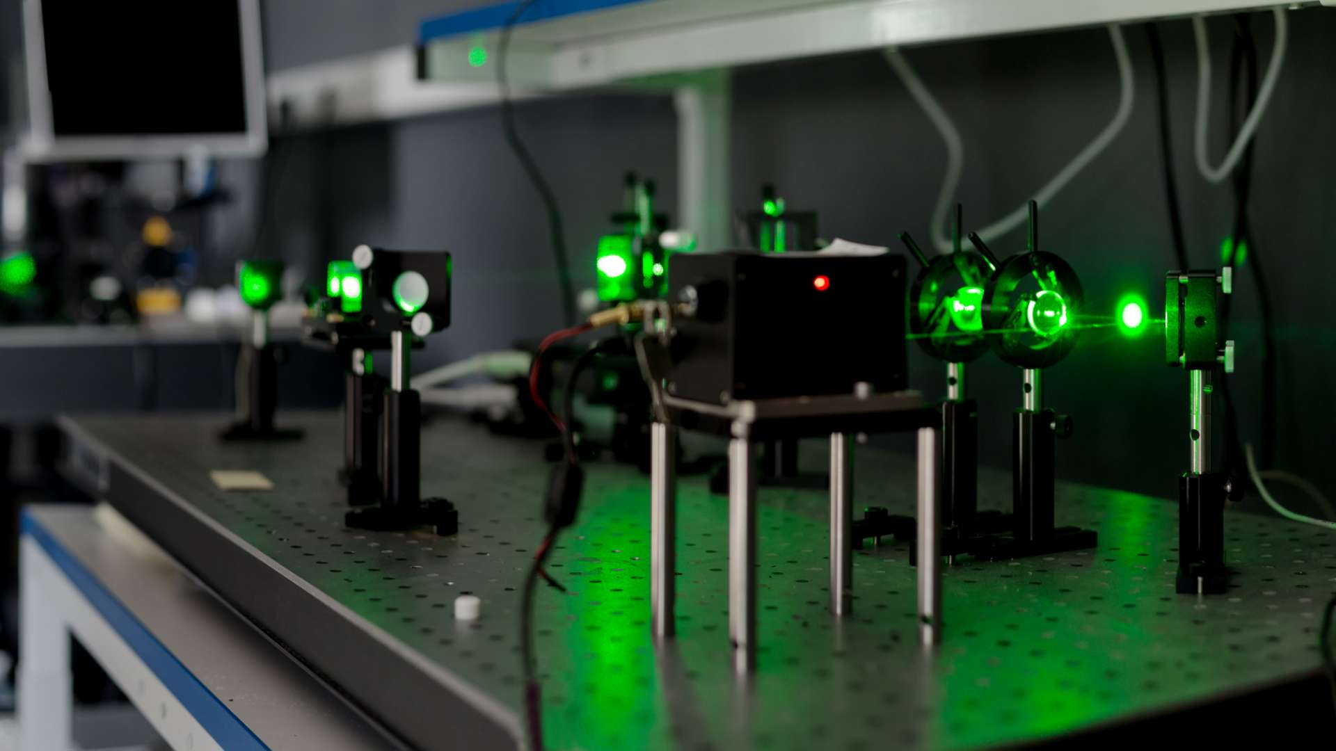 A photo of a photon laser being used in a laboratory