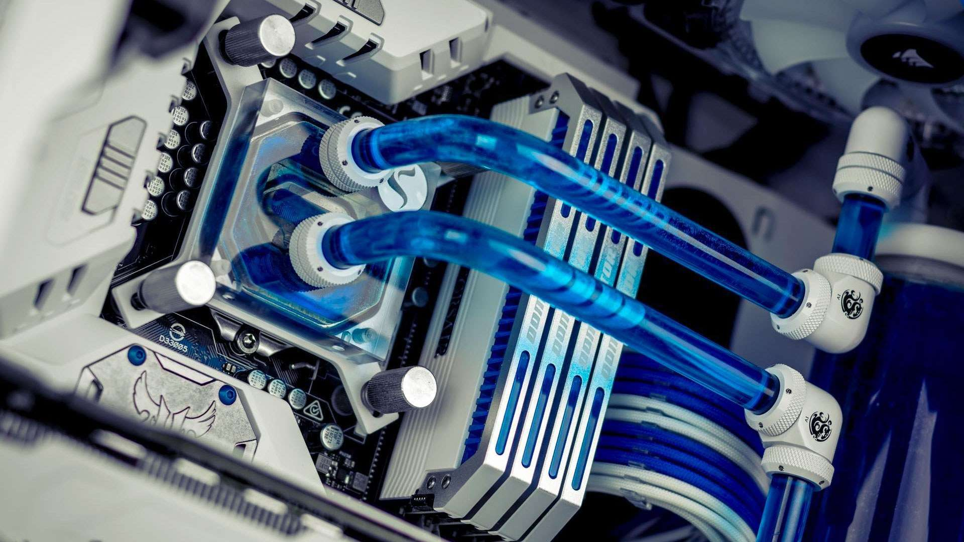 A photo of blue coolant in a custom computer