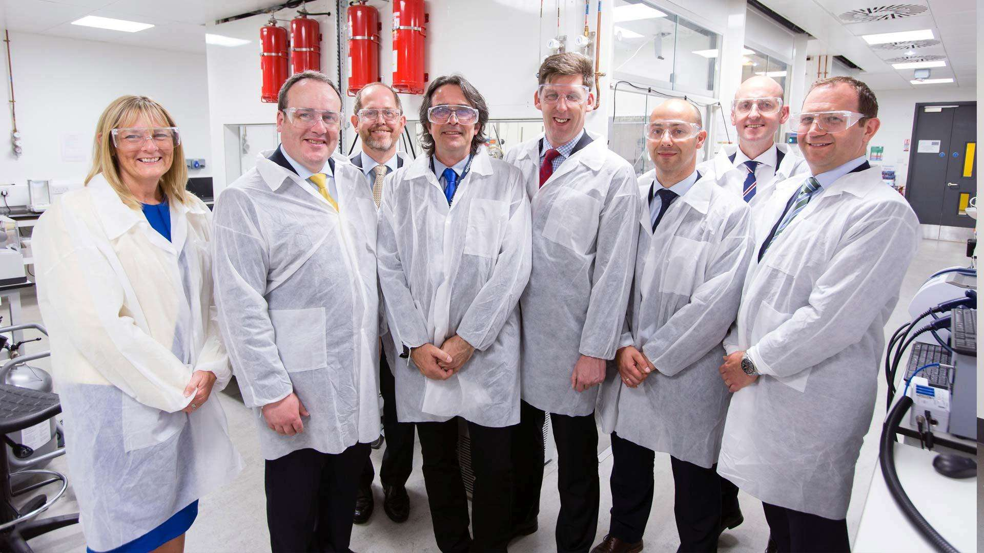 A photo of the people involved in the creation of the Medicines Manufacturing Innovation Centre